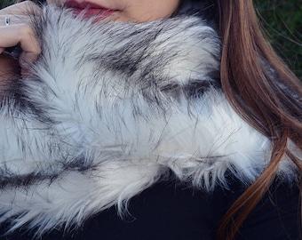 Faux fur scarf, fake fur wrap scarf, retro style scarf, fake fur stole