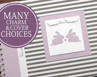 TWIN Pregnancy Journal | Pregnancy Gift for Twins | Personalized Pregnancy Scrapbook for Twins | Narrow Gray Stripes + Lavender with Bunnies