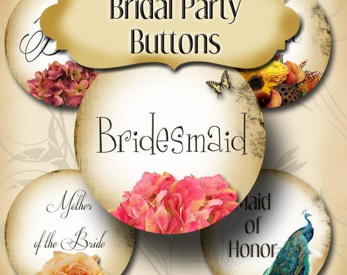 10 CUSTOM Bridal Shower Buttons, Bachlorette Party Buttons, Bridal Party