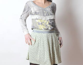 Green floral skirt, Pale green pleated skirt, Short pleated skirt, pale grey and pale green floral pattern, MALAM