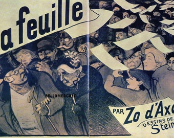 French Poster - La Feuille 1899 Steinlen Case of Treason Overturned 1968 Reproduction Print 8-1/2 x 12