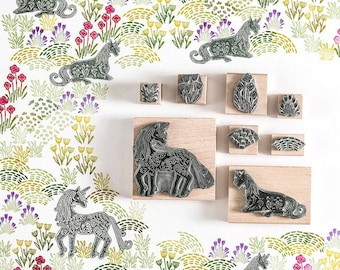 Unicorn Garden Rubber Stamps - unicorn stamp - garden stamp - foliage stamp - art stamp - nature stamp - gift for her