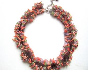 Pink Coral Branch Necklace with Amethyst & Peridot Chips Bib Collar OOAK Wearable Art 16 - 19 Inches