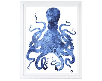 Modern Octopus Printable Art Print -deep blue -Digital Files with Instant Download-Home Decor-8x10  File SALE!!!