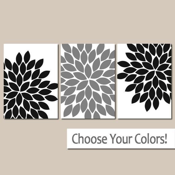 Black White Grey Wall Art, Black White Bedroom Pictures, CANVAS Or Prints,  Black Gray Bathroom Decor, Flower Burst Petals Art, Set Of 3