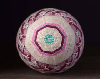 Temari ball Japanese art Japanese embroidery Purple Grey colour Home decoration Unique gift Traditional art Sphere Handmade ball Ornament