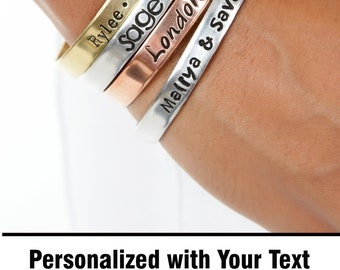 Gifts for Mom - Hand Stamped Message Jewelry - Mantra Cuff Bracelet - Custom Bracelet - Personalize Engraved Cuff - Expressions Bracelets