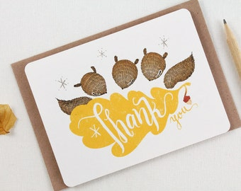 30% OFF - 10 Thank You Notecards - Squirrels & Oak leaf