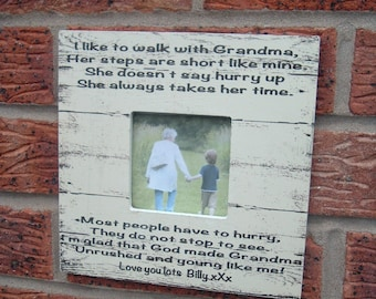 I like to walk with grandma Nan Nannie Pops picture frame photo frame personalized  8x8 inch