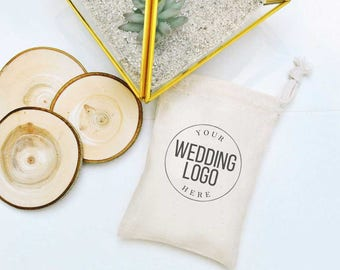 Set of wedding logo printing favors-small drawstring pouches-custom wedding logo favors-small fabric pouch-wedding logo pouches packaging