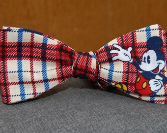 Mickey Mouse on Blue and Red  Bow tie