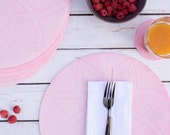 Sale - Rose Pink Blush Felt Placemat, Hand Dyed Fabric Round Placemat, Summer Picnic Outdoor Garden Decor, Geometric Circle Table Linen