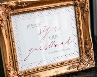 "Pink and Orange Wedding Sign, Wedding Guestbook Sign, Hashtag Wedding Sign, Dessert Bar Sign - ""Modern Calligraphy"" Guestbook Sign"