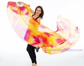 Fabulous Florescent Fan Veil Set (2 fans)- UV reactive Nebula Design