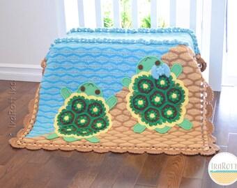 CROCHET PATTERN Bubbles The Turtle Blanket PDF Crochet Pattern with Instant Download