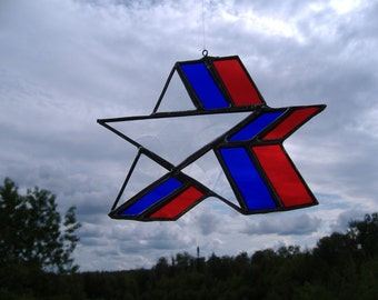 red, white, blue star, stained glass suncatcher
