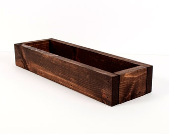 Wood Trough, Centerpiece, Display, Storage Bin, Wood Bin - Honey Oak, Espresso, Willow, Cherry, Black - Custom Color - Color Stain - 16 Inch