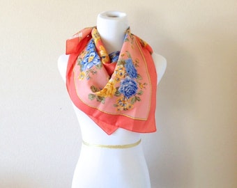Italian Vintage Floral Scarf in Orange and Blue