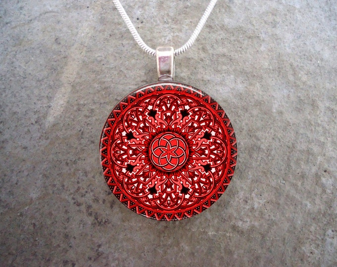 Celtic Jewelry - Glass Pendant Necklace - Celtic 32 Red