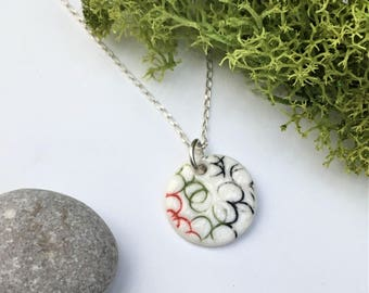 RED, GREEN , BLACK minimalist Ming Porcelain necklace, ceramic jewelry, contemporary , dainty, modern, chic