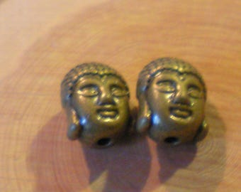SET of 2 beautiful Buddha heads metal