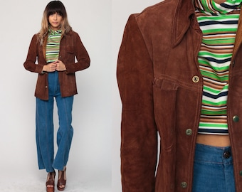 Suede Leather Jacket Brown Leather Jacket 70s Bohemian Coat Boho Hippie Collared 1970s Vintage Hipster Snap Extra Small xs