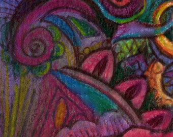 original aceo drawing abstrace zentangle design colorful
