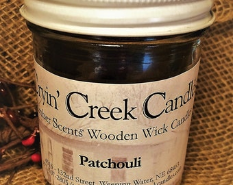 Patchouli Ember Scents Small Wooden Wick Candle