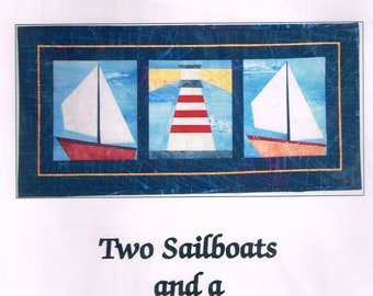 Sailboat & Lighthouse Wall Hanging Quilt Pattern - Nautical Quilt Pattern - Paper Pieced Quilt Pattern - Meadow Lily Bridge