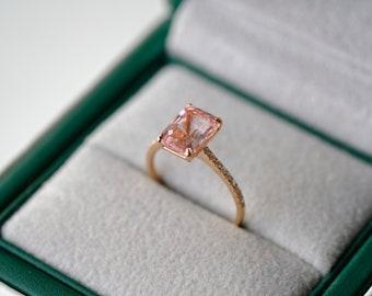 2 Carat Morganite Engagement Ring Pink Stone Engagement Ring Pink Stone Ring Morganite Ring Rose Gold Ring Diamond Ring