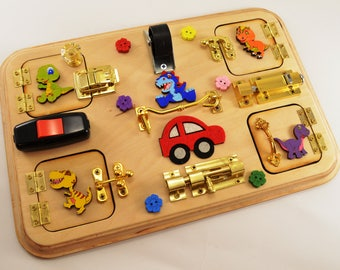 Car Travel toys Toy for autism Latch board Busy board Sensory board Toy for boy 4th July Baby gifts Activity board Special needs Therapy toy