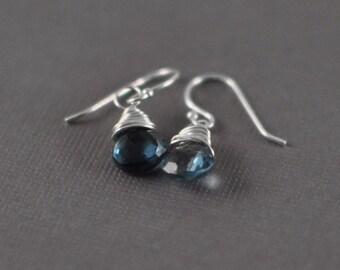 London Blue Topaz Briolettes Sterling Silver Dangle Earrings - Wirewrapped Briolette Sterling Silver Earrings - Bridal Jewelry