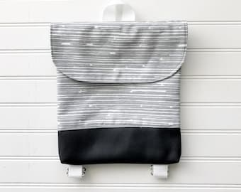 Grey Stripe Tiny Pack - Small Backpack - Toddler Backpack - Tiny Backpack - Toddler Bag - Backpack - Toddler Purse - Kid Backpack