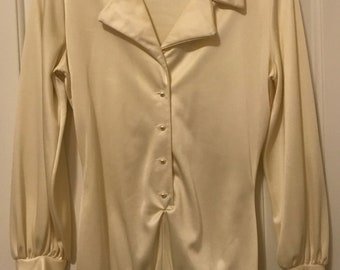 Rare Vintage 1970's Christian Dior Long Sleeved, Pearl Button-Up, Collared Silky Cream Bodysuit