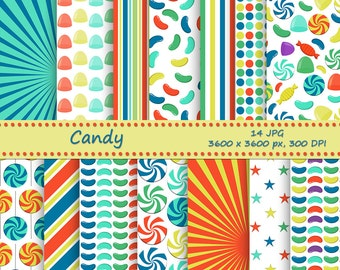 SALE Sweets and candy digital paper pack - 14 printable jpeg papers, 3600x3600 px, 300 dpi - Instant download - Printable backgrounds