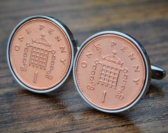 Copper 7th Anniversary Cufflinks Penny Birth Year Coin Cufflink 7th Coin Cufflinks Mens Birthday Copper Anniversary Present Gift Lucky