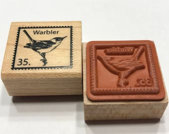 small bird postage stamp rubber stamp, 20 mm (BB4/1)
