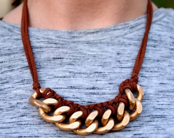 Braided Matte Gold Curb Chain Necklace with Brown Suede Cord