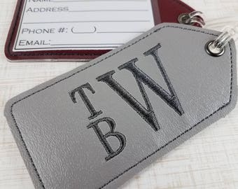 Monogrammed Luggage Tag, Embroidered Monogram, Personalized Tag, Backpack Tag, Business Card Tag, Custom Tag, Stacked Monogram