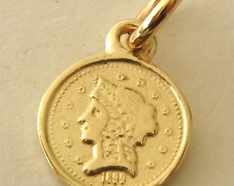 Genuine SOLID 9K 9ct YELLOW GOLD Small Coin 1899 charm/pendant