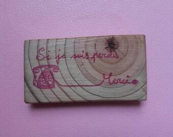 """Tampon fait-main """"si je suis perdu..."""" avec téléphone style vintage - tampon fait-maison - pour noter son téléphone sur ses carnets"""
