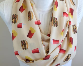 Burger Scarf Hamburger Infinity Scarf Fries Cheeseburger Fast Food Womens Scarf Coke Gift Food Gift Funny Gift for Her Food Lover Gift