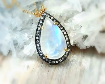 Rainbow Moonstone Gold Necklace, Sapphire Necklace,Large Natural Flashy Blue Moonstone and White Saphire Pave Pendant