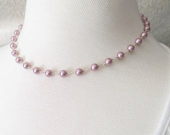 Swarovski Pearl Necklace, Powder Rose Pearl Necklace In Sterling Silver, Bridal Necklace, Simple Pearl Necklace, Bridesmaids Pearl Necklace