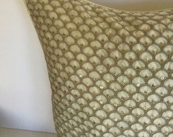 Cord sequin decorative pillow for couch