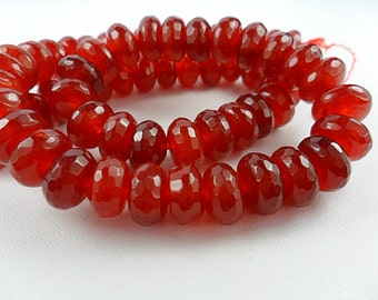 SMOOTH Red Agates Rondelle Bead, Gemstone, Large beads, Red Gemstone bead 6x9mm  10pcs