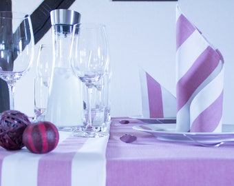 Pink and white striped table runner 150 cm x 50 cm