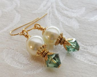 50% Off Clearance Sale, Dew Drop, Swarovski Crystal Earrings, Vintage Faux Ivory Pearl, Blue Green with Gold Finish