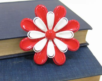 Large Vintage Red & White Metal Daisy Brooch
