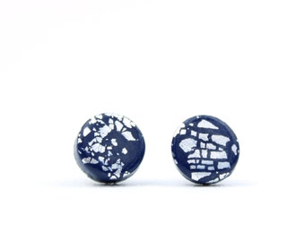 Silver and Navy Earrings, Silver and Navy Studs, Silver Flake Studs, Round Navy Earrings, Navy Studs, Silver Leaf Studs, Navy Accessories